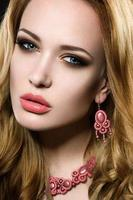 Beautiful girl with perfect skin and evening makeup. photo