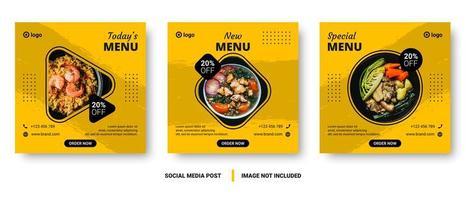post de mídia social comida quadrada definida com formas