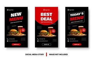menu e melhor negócio conjunto de postagem de mídia social
