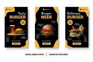 conjunto de postagem de mídia social de promoção de hambúrguer