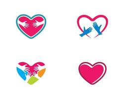 Love Heart and Hands Logo Set