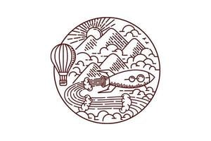 Adventuring with rocket line drawing vector
