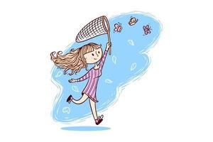 Drawing of cute girl catching butterflies