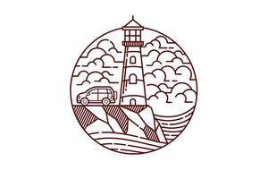 Beautiful view of lighthouse line drawing vector