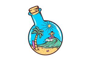 Beach in a bottle drawing vector
