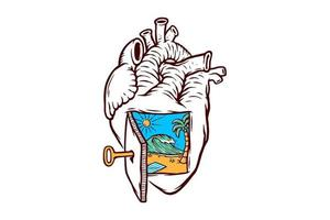 Beach in anatomical heart illustration