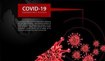 coronavirus poster met rode virus en zwarte wereld