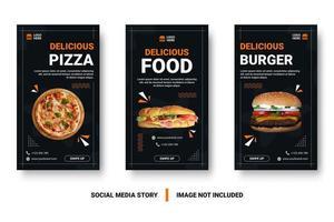 marketing de mídia social de alimentos conjunto com elementos de memphis