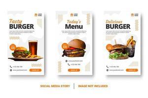 post de mídia social de hambúrguer definido com elementos de memphis