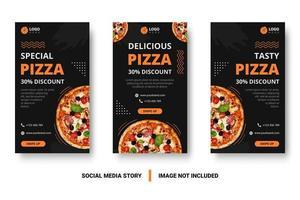 post de mídia social de pizza com elementos de memphis