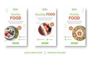 conjunto de post de mídia social de alimentos saudáveis