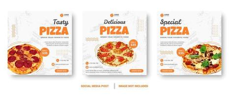 post de mídia social de pizza com pinceladas