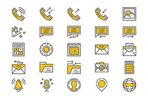 Yellow Mobile Essential Apps Icons vector