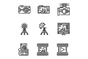 iconos de fotografía de esquema vector