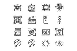 Outlined Camera and Photography Icons vector