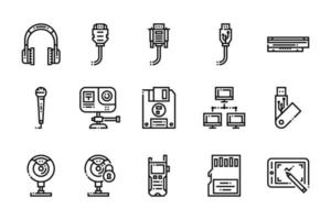 Computer and Electronic Elements Icons vector