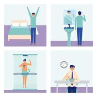 Man doing daily personal activities vector