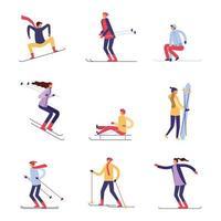 conjunto de caracteres de esquiadores vetor