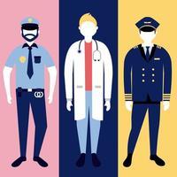 conjunto de caracteres de la policía y el médico