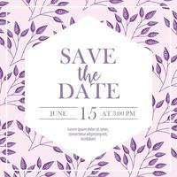 Save the date card with purple flowers vector