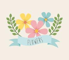 diseño de flores sobre fondo beige