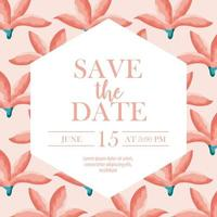 Save the date card with flowers