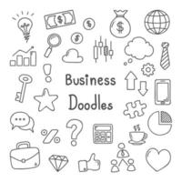 Hand Drawn Business Doodle Icon Set vector