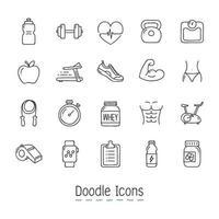 Doodle conjunto de iconos de salud y fitness vector