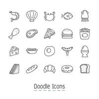 Doodle Food Icons Set  vector