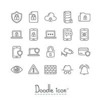 conjunto de iconos de seguridad Doodle vector