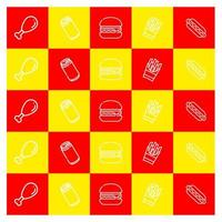 Red and yellow fast food icon pattern