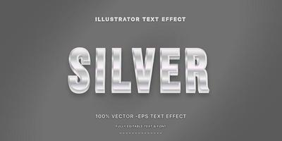 Editable Text Effect - Silver Text Style vector