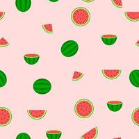 Seamless Pattern of Watermelon Pieces