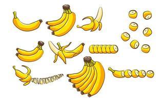 conjunto de frutas de plátano vector