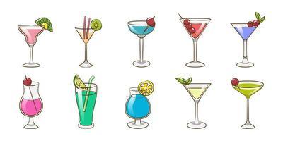 conjunto de bebidas de cóctel vector