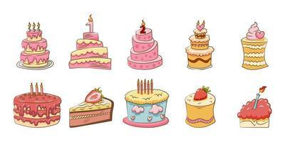 pastel de cumpleaños vector