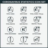 conjunto de ícones de estatísticas de coronavírus vetor