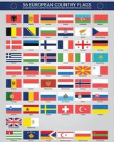 56 European Country Flags vector