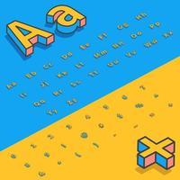 Lettres de police stylisées isométriques 3D vecteur
