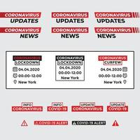 actualización de coronavirus y conjunto de alertas vector