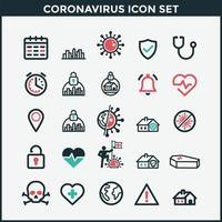 conjunto de ícones coloridos de coronavírus vetor