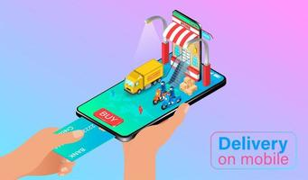 Hand Holding Mobile Phone to Pay for Delivery vector