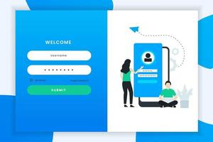 Flat Design Login Screen Template
