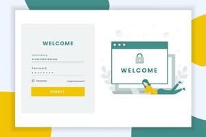Login Screen Landing Page Template