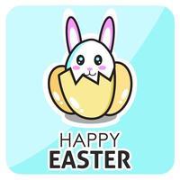 Happ Easter Bunny in Egg Card vector