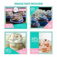 Dessert Discount Social Media Post Set vector