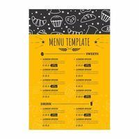 menu da forno con scarabocchi bianchi