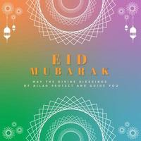 Colorful Gradient Eid Mubarak Card vector
