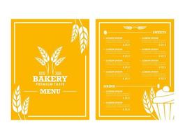 Yellow Wheat Themed Bakery Menu  vector