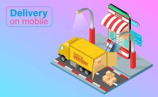 camión de reparto descarga pedido móvil vector